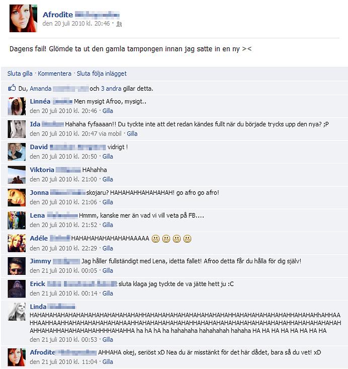 facerape glömde ta ut tampong äcklig rolig bästa awesome grym facebook rape ansiktsvåldtäkt