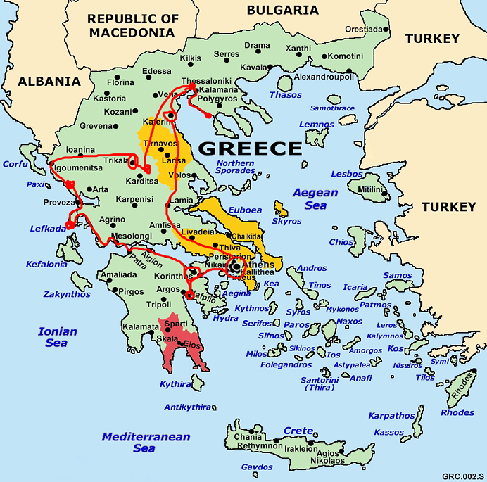 Map of over Greece