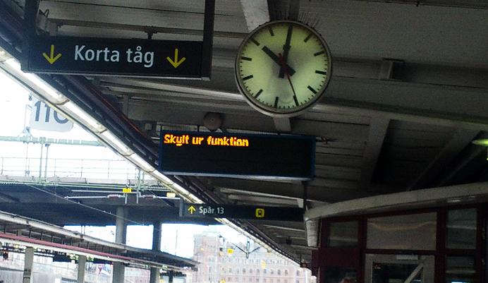 Skylt ur funktion T-Centralen