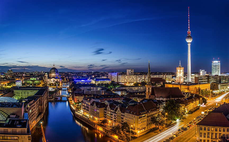 Berlin by night skyline