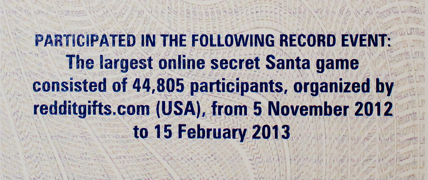 The largest online secret santa game 44.805 participants redditgifts 2012 2013